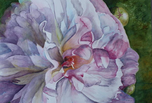 Close Up Floral Art Print featuring the painting Close Focus Peony by Patsy Sharpe