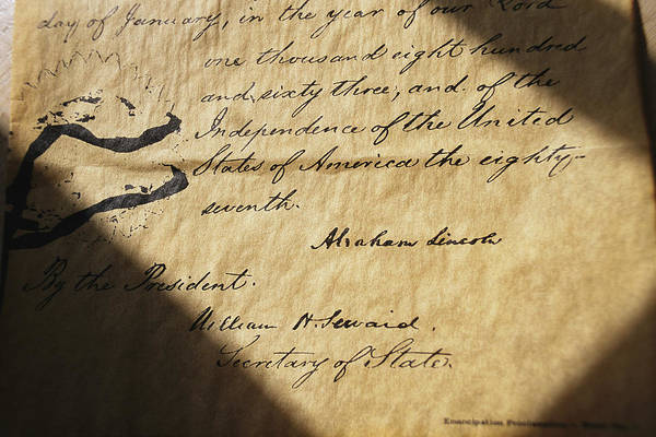 Legislation Art Print featuring the photograph Close-up Of Emancipation Proclamation by Todd Gipstein