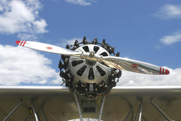 Airplane Art Print featuring the photograph Close-up Of Engine On Antique Seaplane Canvas Poster Print by Keith Webber Jr
