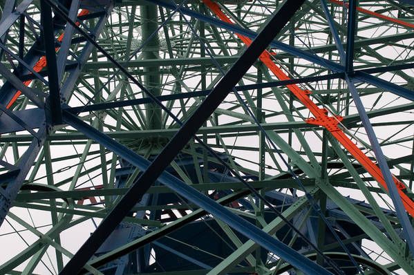 Ferris Wheel Art Print featuring the photograph Close-up Of Ferris Wheel Mechanism by Todd Gipstein
