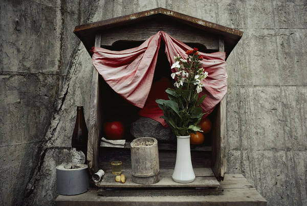 Asia Art Print featuring the photograph Close View Of A Shrine With Oferings by Sam Abell