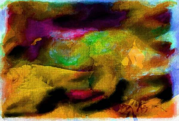 Abstract Art Print featuring the digital art Colorful Burlap by Carrie OBrien Sibley