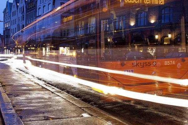 Dark Art Print featuring the photograph Commuter Bus by A A