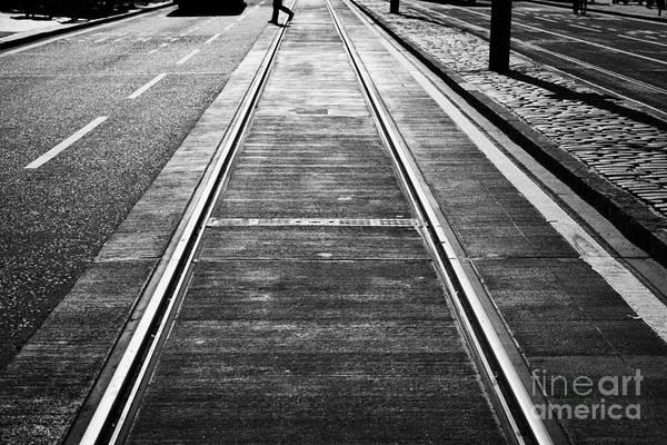 Princes Art Print featuring the photograph Completed Tram Rails On Princes Street Edinburgh Scotland Uk United Kingdom by Joe Fox