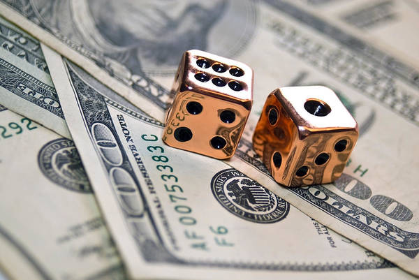 100 Art Print featuring the photograph Copper Dice And Money by Susan Leggett