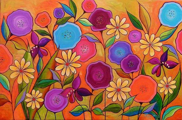 Flower Art Print featuring the painting Cotton Candy by Peggy Davis