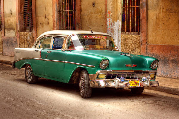 1953 Chevrolet Bel Air Art Print featuring the photograph Cuban Cars by Jolanta Bugajski