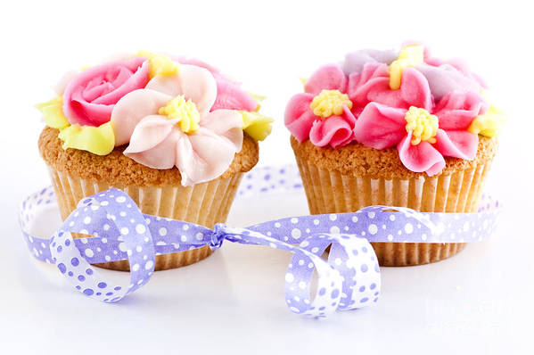 Ribbon Art Print featuring the photograph Cupcakes by Elena Elisseeva