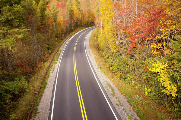 Horizontal Art Print featuring the photograph Curvy Road Blue Ridge Parkway, North Carolina by Lightvision, LLC