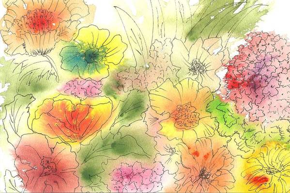 Watercolor Art Print featuring the painting Dancing Flowers by Christine Crawford