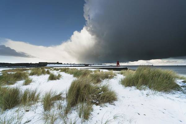 Dark Art Print featuring the photograph Dark Clouds And Blue Sky Over A Red by John Short