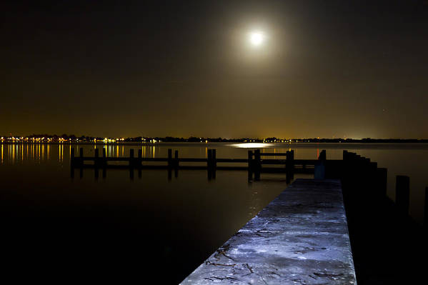 Night Art Print featuring the photograph Darkness On The Bradenton Bay by Nicholas Evans