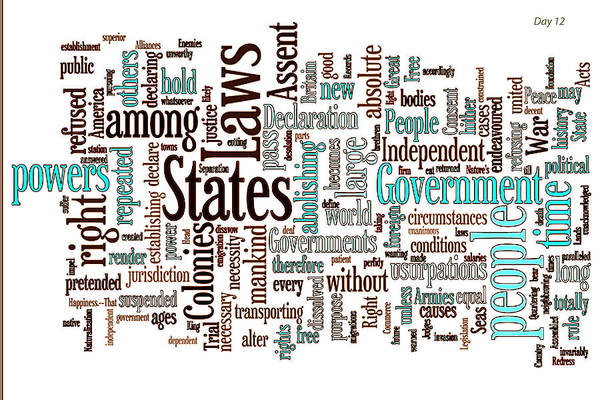 Declaration Of Independence Art Print featuring the digital art Declaration Of Independence Word Cloud by Day Williams