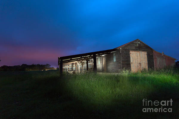 Barn Art Print featuring the photograph Derelict Barn At Night by Philip Payne