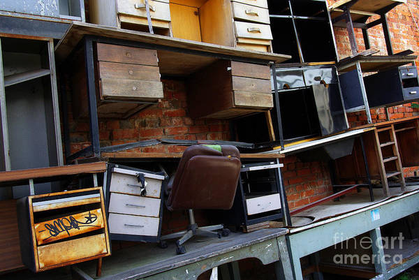 Abandoned Art Print featuring the photograph Desk Scrap by Carlos Caetano
