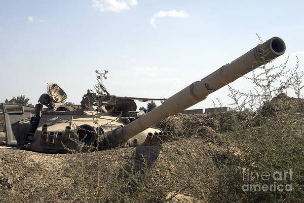 Baghdad Print featuring the photograph Destroyed Iraqi Tanks Near Camp Slayer by Terry Moore