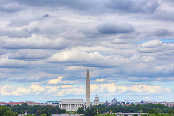 Metro Art Print featuring the digital art Digital Liquid - Clouds Over Washington Dc by Metro DC Photography