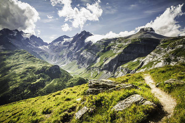 Horizontal Art Print featuring the photograph Dirt Path On Grassy Rural Hillside by Manuel Sulzer