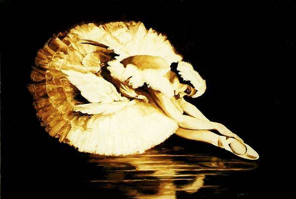 Ballet Art Print featuring the painting Dying Swan by Yvette Mey