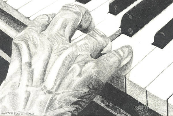 Hand Art Print featuring the drawing Ebony And Ivory by Martha Booysen