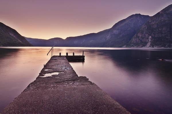 Horizontal Art Print featuring the photograph Eidfjord At Sunset by Jesus Villalba