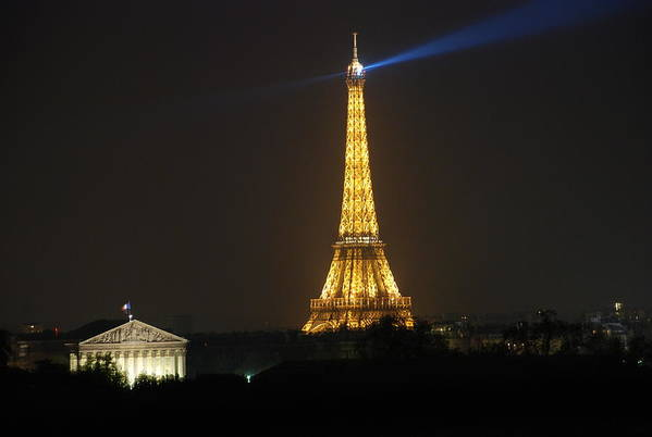Eiffel Tower Print featuring the photograph Eiffel Tower At Night by Jennifer Ancker