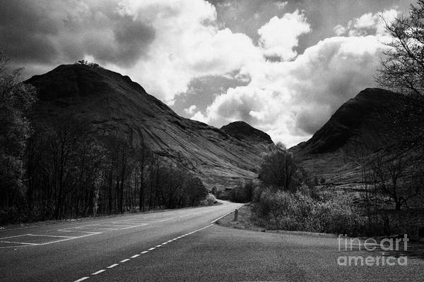 Main Art Print featuring the photograph Empty Main Road Through Glencoe Highland Scotland Uk by Joe Fox