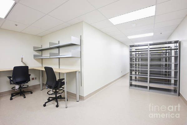 Architecture Art Print featuring the photograph Empty Metal Shelves And Workstations by Jetta Productions, Inc