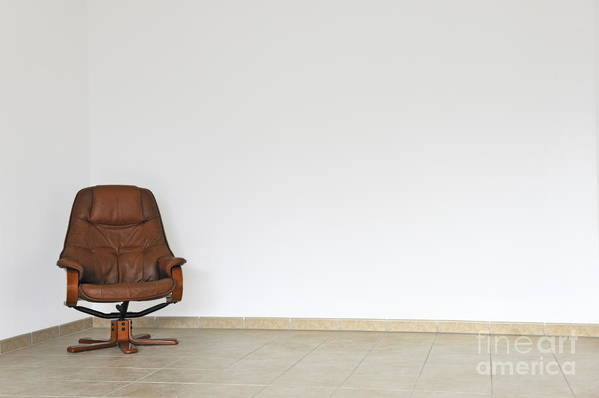 Failure Art Print featuring the photograph Empty Office Chair In Empty Room by Sami Sarkis