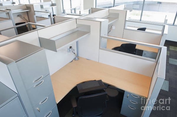 Architecture Art Print featuring the photograph Empty Office Cubicles by Jetta Productions, Inc