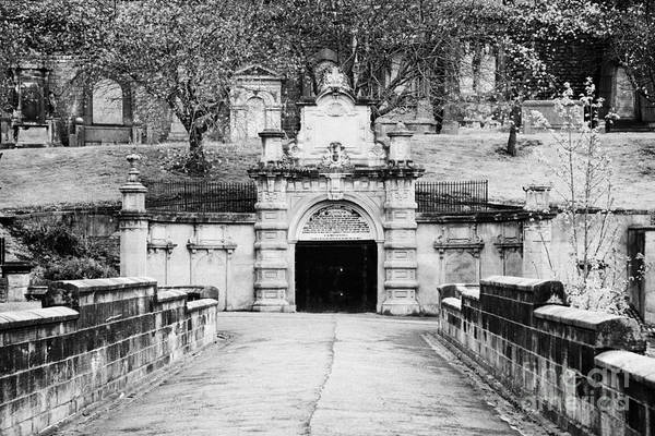 Bridge Art Print featuring the photograph entrance bridge and ornate tunnel to Glasgow necropolis cemetery Scotland UK by Joe Fox