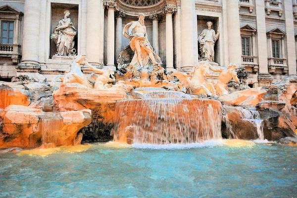Trevi Art Print featuring the photograph Evening At Trevi Fountain by