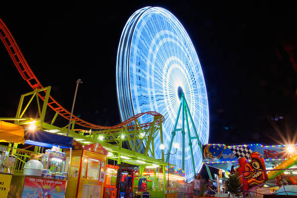 Amusement Art Print featuring the photograph Ferris Wheel At Night by Stelios Kleanthous