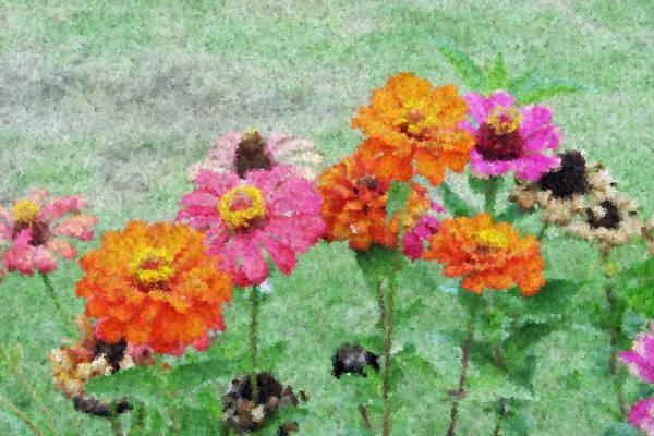Filed Of Flowers Impressionism Art Print featuring the painting Field Of Flowers Impressionism by Jacob Melnick