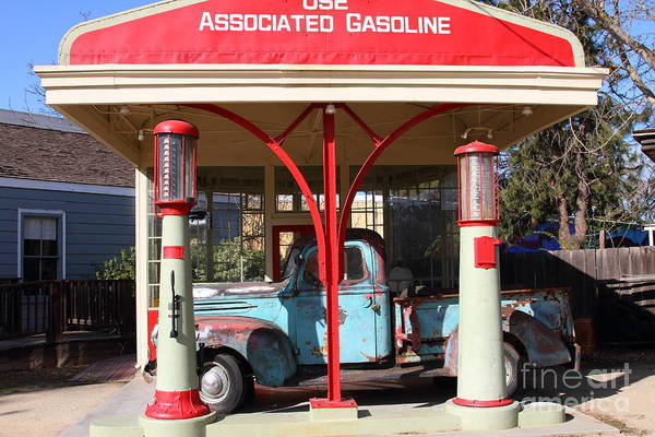 Transportation Art Print featuring the photograph Filling Up The Old Ford Jalopy At The Associated Gasoline Station . Nostalgia . 7d12883 by Wingsdomain Art and Photography