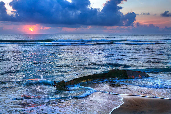 Outer Banks Art Print featuring the photograph Final Sunrise - Beached Boat On The Outer Banks by Dan Carmichael