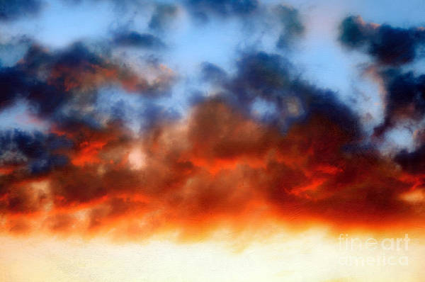 Sun Set Clouds Art Print featuring the photograph Fire In The Sky by Andee Design