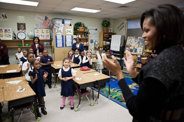History Print featuring the photograph First Lady Michelle Obama Claps by Everett