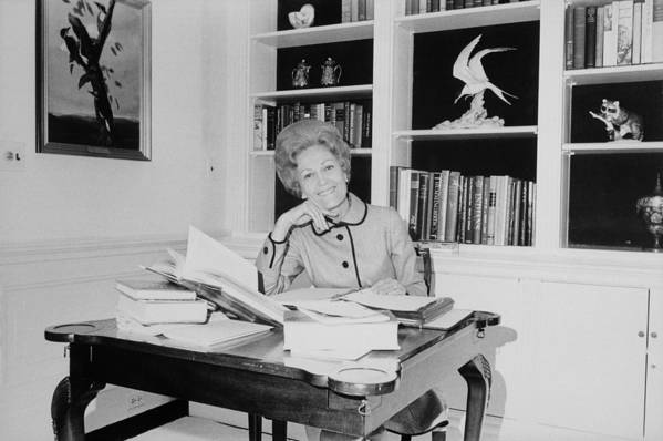History Art Print featuring the photograph First Lady Pat Nixon Working At A Small by Everett