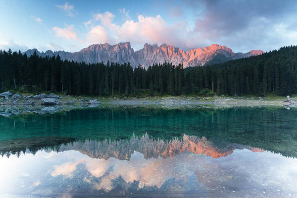 Horizontal Art Print featuring the photograph First Light Over Latemar by Matteo Colombo