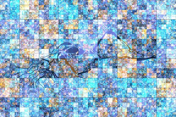 Pop Art Paintings Art Print featuring the digital art First Time Geometric Blue by Mayhem Mediums
