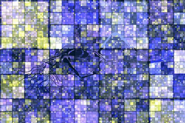 Hearts Digital Art Art Print featuring the digital art First Time Geometric Lavender by Mayhem Mediums