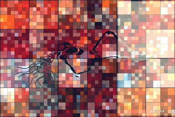 Hearts Digital Art Art Print featuring the digital art First Time Geometric Red by Mayhem Mediums