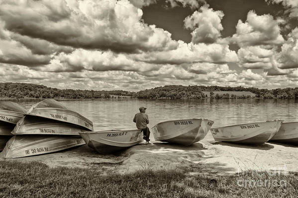 Fishing Print featuring the photograph Fishing By The Boats 2 by Jack Paolini