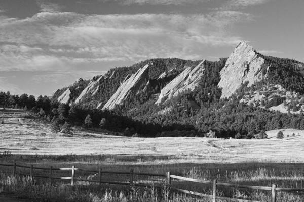 Epic Art Print featuring the photograph Flatirons From Chautauqua Park Bw by James BO Insogna