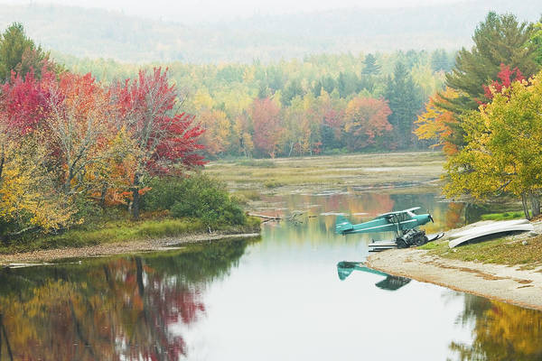 Airplane Art Print featuring the photograph Float Plane On Pond Near Golden Road Maine Photo Poster Print by Keith Webber Jr