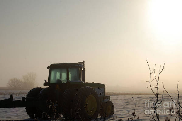 Tractor Art Print featuring the photograph Foggy Morn by Anjanette Douglas