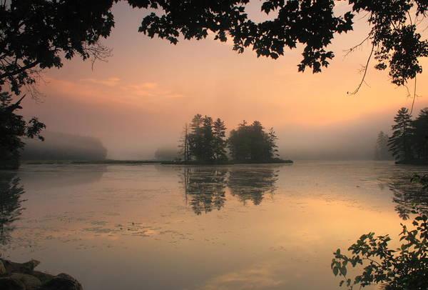 Sunrise Art Print featuring the photograph Foggy Summer Sunrise At Harvard Pond by John Burk