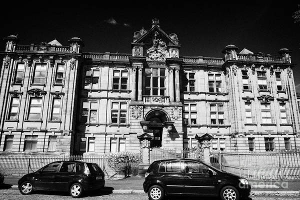 Former Art Print featuring the photograph Former Kilmarnock Technical School And Academy Building Now Academy Apartments Scotland Uk by Joe Fox