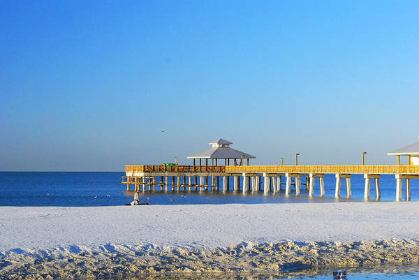 Fort myers beach pier art print by gary wonning for Craft fair fort myers